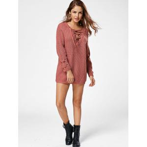 Lace Up Raglan Sleeve Sweater - DARK AUBURN ONE SIZE