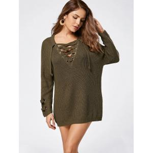 Lace Up Raglan Sleeve Sweater - LAWN ONE SIZE