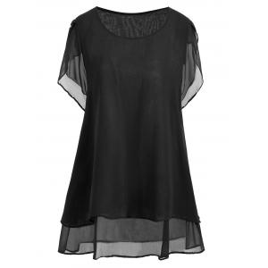 Plus Size Beaded Chiffon Tunic Top - Black - 3xl
