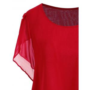 Plus Size Beaded Chiffon Tunic Top -