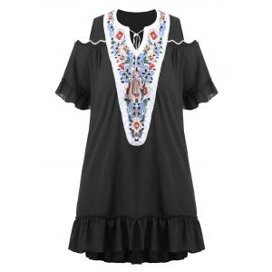 Plus Size Embroidered Long Asymmetric Cold Shoulder Top