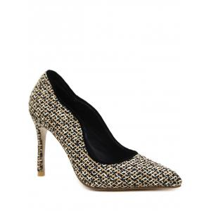 Gien Check Sequins Stiletto Heel Pumps - Black - 40