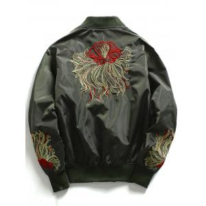 Embroidered Zip Up Baseball Jacket - ARMY GREEN M