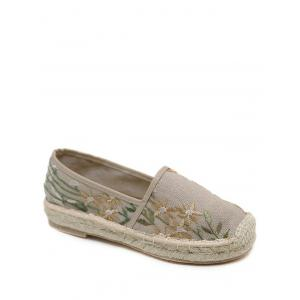 Stitching Embroidery Canvas Flat Shoes - Apricot - 39