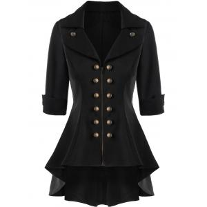 Manteau Trench Double Breasted High Low Flare