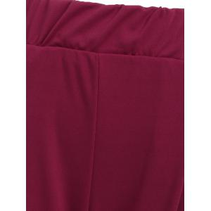 Elastic Waist Ankle Plus Size Pencil Pants - PURPLISH RED C5 5XL