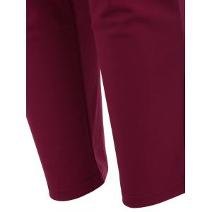 Elastic Waist Ankle Plus Size Pencil Pants - PURPLISH RED C5 4XL