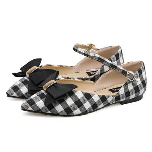 Pointe Toe Bowknot Plaid Flats - Noir 37