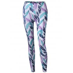 Feather Print Tight Pants