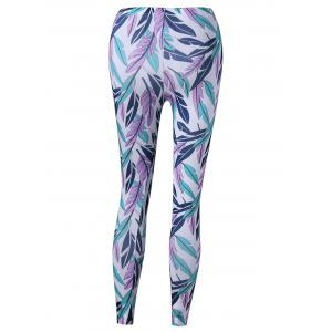 Feather Print Tight Pants -