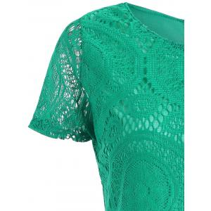 Long Plus Size Short Sleeve Lace Tee - GREEN 5XL