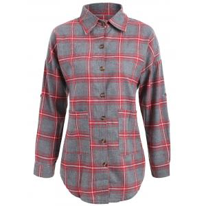 Button Up Plus Size Plaid Shirt Jacket - Red - 5xl