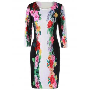 3D Floral Sheath Printed Dress with Sleeve