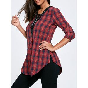 Plaid Button Up Lace Up Long Shirt