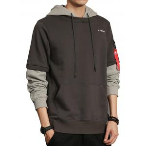 Double Sleeve Zip Shoulder Pullover Hoodie
