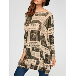 Pullover Letters Figure Pattern Drop Shoulder Ribbed Sweater