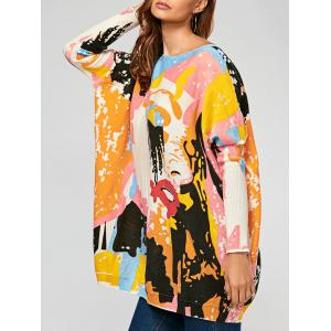 Pullover Colorful Cartoon Ribbed Drop Shoulder Sweater