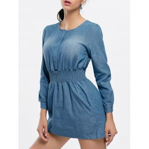 Long Sleeve Chambray Mini Dress