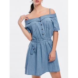 Pocket Cold Shoulder Chambray Mini Dress