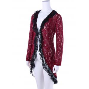 Two Tone High Low Hem Lace Cardigan