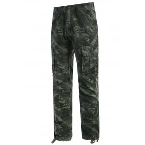 Flap Pockets Camo Print Pants -