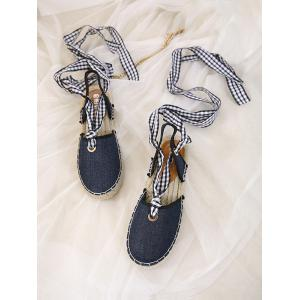 Stitching Slingback Tie Up Sandals - DEEP BLUE 37