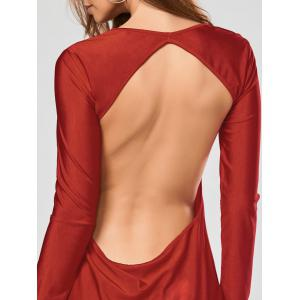 Alluring Scoop Collar Solid Color Backless Long Sleeves Women's Bodycon Dress - RED S