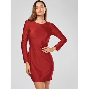 Alluring Scoop Collar Solid Color Backless Long Sleeves Women's Bodycon Dress - RED M