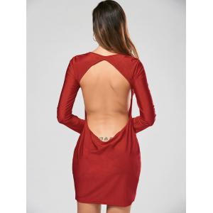 Alluring Scoop Collar Solid Color Backless Long Sleeves Women's Bodycon Dress - RED L