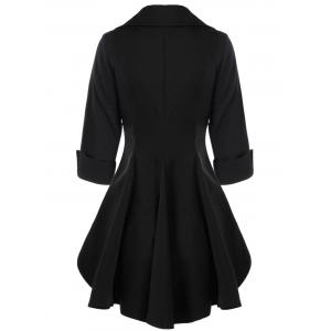 Double Breasted High Low Flare Trench Coat - BLACK L