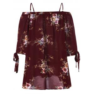 Plus Size Cold Shoulder Bohemian Blouse - WINE RED XL