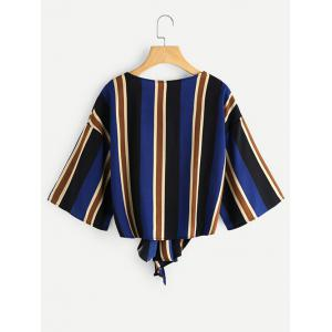 Knot Tied Striped Chiffon Top -