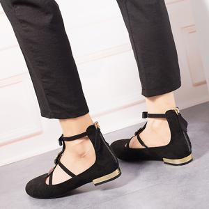 Bow and Rhinestone Round Toe T-strap Flats -