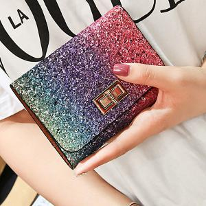 Sequins Multicolor Metal Small Wallet -