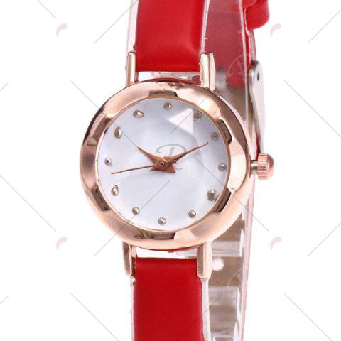 Outfit Faux Leather Strap Simple Roundel Watch - RED  Mobile