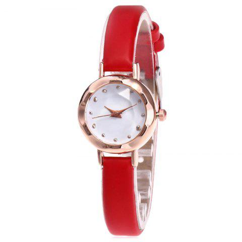Cheap Faux Leather Strap Simple Roundel Watch - RED  Mobile
