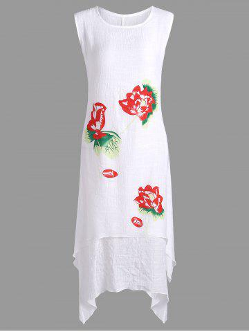 Hot Casual Swing Lotus Flower Linen Dress - ONE SIZE WHITE Mobile