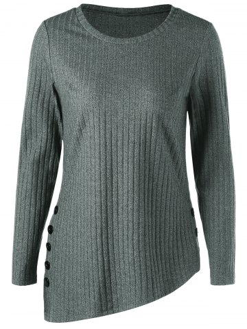 Asymmetric Side Button Ribbed Top - Gray - 2xl