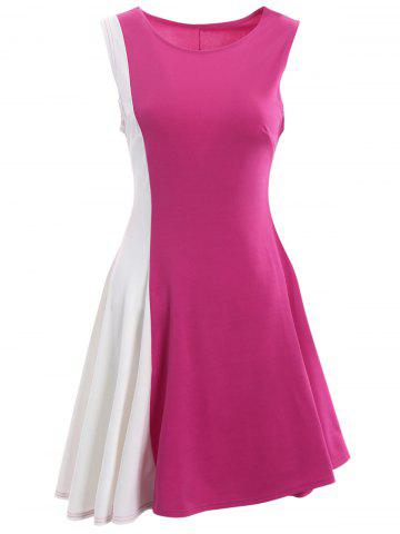 New Asymmetrical Color Block Mini Dress - S ROSE + WHITE Mobile