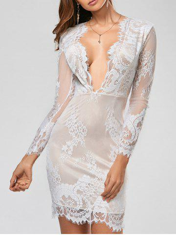 Sexy Plunging Neck Long Sleeve See-Through Flower Pattern Women's Dress - White - M