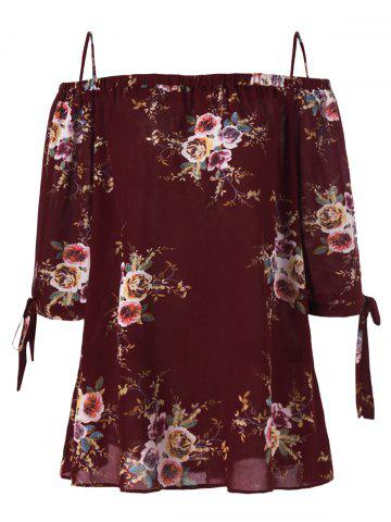 Outfit Plus Size Cold Shoulder Bohemian Blouse - XL WINE RED Mobile