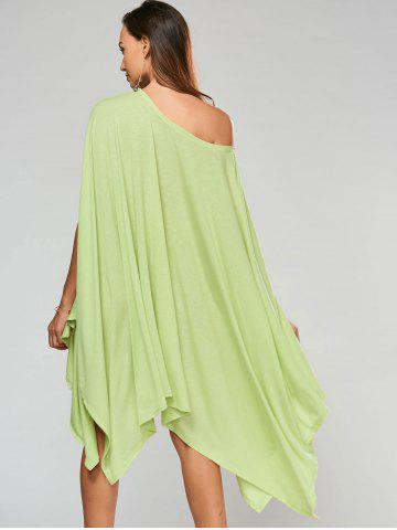 Discount Stylish Scoop Neck Solid Color Asymmetrical Women's Dress - XL LIGHT GREEN Mobile