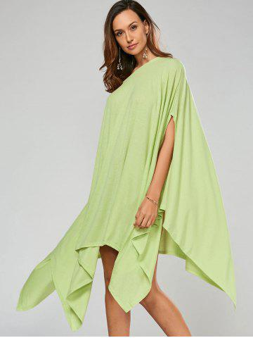 Hot Stylish Scoop Neck Solid Color Asymmetrical Women's Dress - XL LIGHT GREEN Mobile