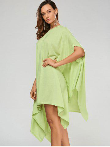Fashion Stylish Scoop Neck Solid Color Asymmetrical Women's Dress - XL LIGHT GREEN Mobile