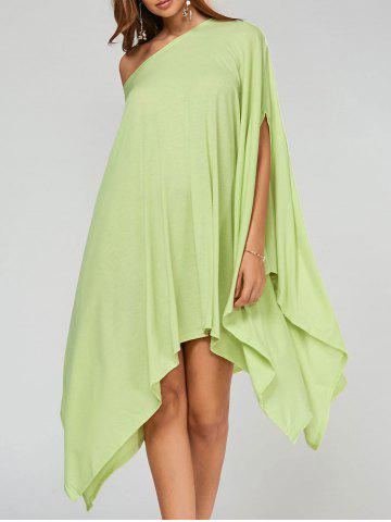 Hot Stylish Scoop Neck Solid Color Asymmetrical Women's Dress - L LIGHT GREEN Mobile