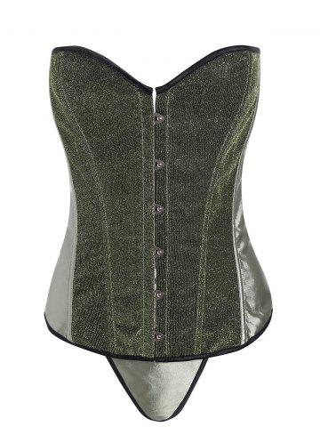Cheap Lace Up Glitter Corset Top - 2XL GREEN Mobile