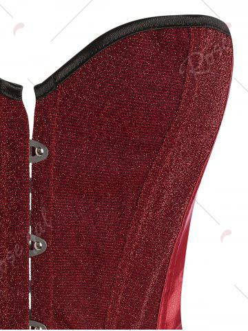 Online Lace Up Glitter Corset Top - 2XL RED Mobile