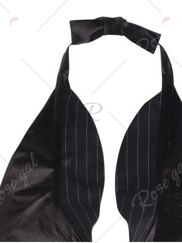 Shops Striped Halter Corset Top with Bowknot - S BLACK Mobile