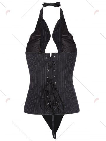 Fashion Striped Halter Corset Top with Bowknot - S BLACK Mobile