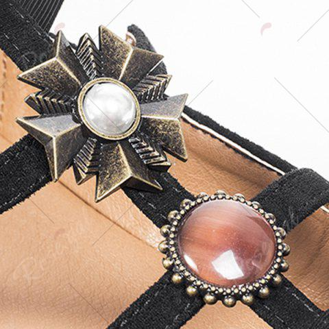Chic Bow and Rhinestone Round Toe T-strap Flats - 39 BLACK Mobile